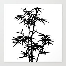 Bamboo Silhouette Black And White Canvas Print