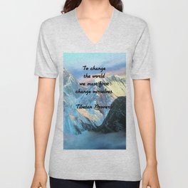 To Change The World Inspirational Tibetan Proverb With Panoramic View Of Everest Mountain Painting Unisex V-Neck