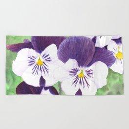 Pansies flowers Beach Towel