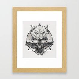 Wolf and Crow - Emblem Framed Art Print