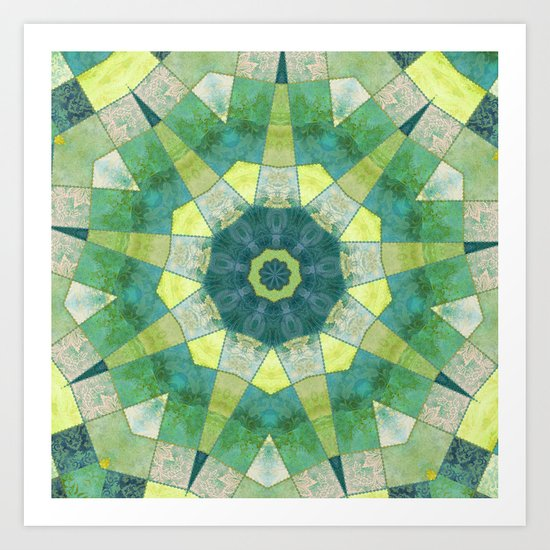 Just Before Dawn Patchwork Star Art Print