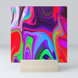 Colorful Light Liquid Marble Swirling Pattern Texture Artwork #6 Mini Art Print