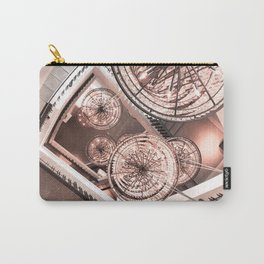 Abstract Perspective // Rose Gold Lighting Ornamental Chandelier Stairway View Carry-All Pouch