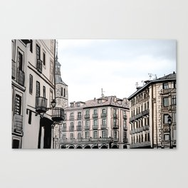 Major Square of Segovia Drawing in Spain Canvas Print