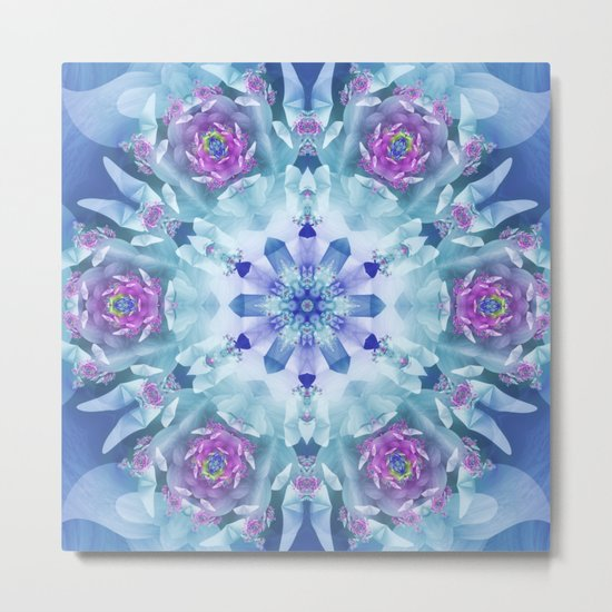 Royal Blue and Purple Mandala Metal Print