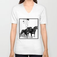 rottweiler V-neck T-shirts featuring Fashion Rottweiler  by Gregory Casares