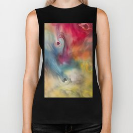 Colored watercolor abstraction painting Biker Tank