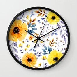 Yellow watercolor flowers Wall Clock