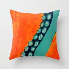 Teal Tentacle Throw Pillow