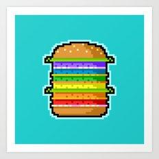 Pixel Hamburger Art Print