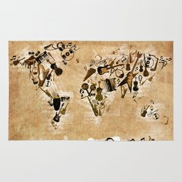 world map music 2 Rug