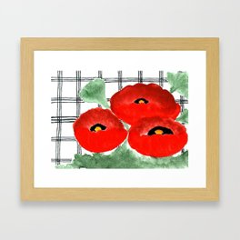 Poppies and Plaid Framed Art Print