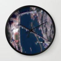 hong kong Wall Clocks featuring Hong Kong  by Mark John Grant