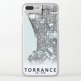 Torrance, CA USA, White, City, Map Clear iPhone Case