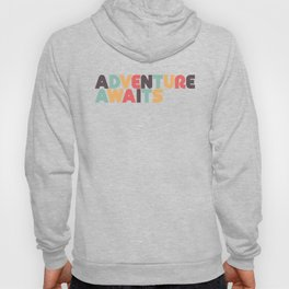 Adventure Awaits Retro Rainbow Typography Hoody
