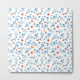 Hand painted watercolor orange pastel blue floral Metal Print