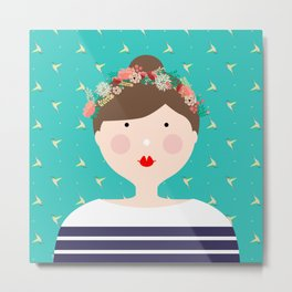 Girl in Flower Crown Metal Print