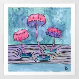 3 pink mushrooms Art Print