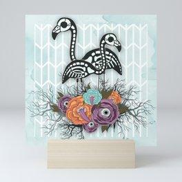 Flamingo Skeleton Halloween Composition Mini Art Print
