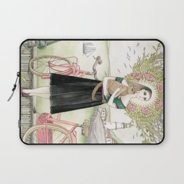 Girl and cat with pink bicycle Laptop Sleeve