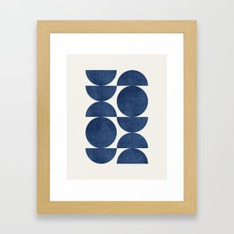 Blue navy retro scandinavian Mid century modern Gerahmter Kunstdruck