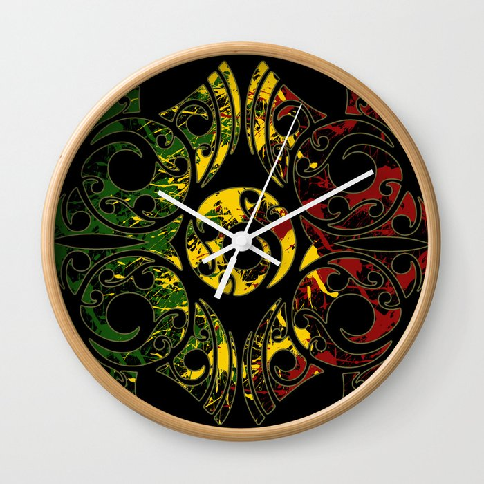 Rasta Colors On Maori Patterns Wall Clock By Gorgeous Maori Patterns