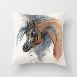 Arabian horse portrait watercolor art Throw Pillow