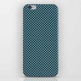 Aquamarine and Black Polka Dots iPhone Skin
