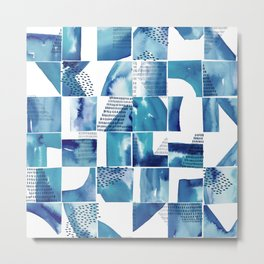 Blue Watercolor Typographical Fragments Cheater Quilt Metal Print