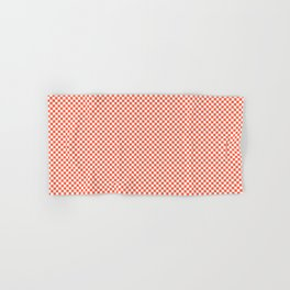 Small Living Coral Color of the Year in Coral Orange and White Checkerboard Hand & Bath Towel