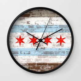 Chicago Flag on Brick Wall Urban City Pride  Wall Clock