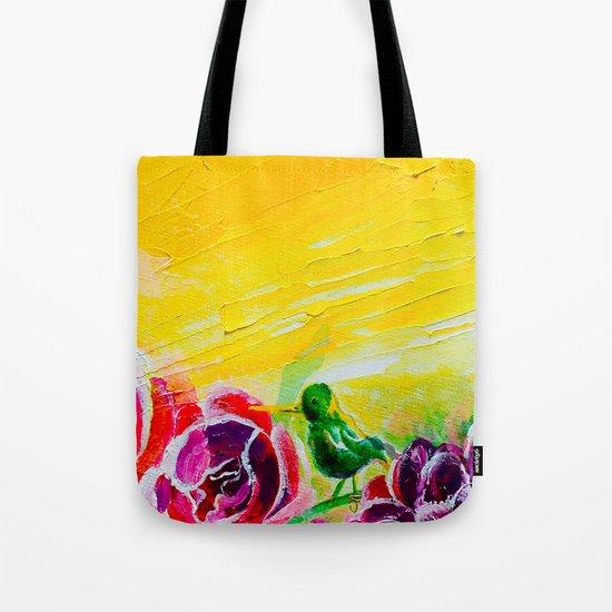 Hummingbird Heaven Summer Purple Flowers Tote Bag
