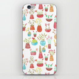 watercolor potted flowers and cacti iPhone Skin