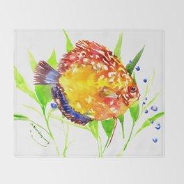 Discus in Aquarium Throw Blanket