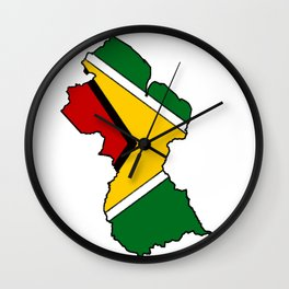 Guyana Map with Guyanese Flag Wall Clock