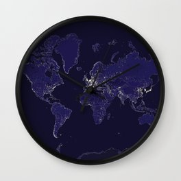 The world map at night with outlined countries Wall Clock