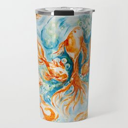 Sparkly Gold Goldfish watercolor by CheyAnne Sexton Travel Mug