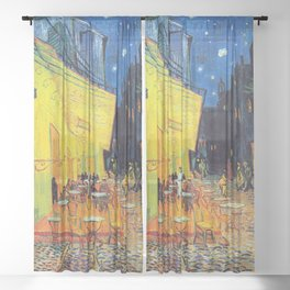 Vincent Van Gogh - Cafe Terrace at Night (new color edit) Sheer Curtain
