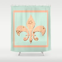 fleur de lis Shower Curtains featuring Fleur de Lis by Artistic Home Decor