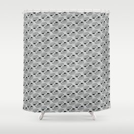 Braaains (black on grey) Shower Curtain