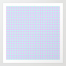 Gingham purple and teal Art Print