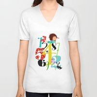 numbers V-neck T-shirts featuring Emmas Numbers by Elisandra