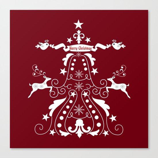 Retro damask christmas tree with reindeer Canvas Print