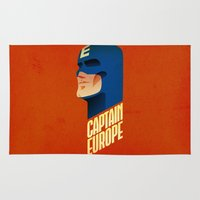 europe Area & Throw Rugs featuring Captain Europe by Robert Farkas