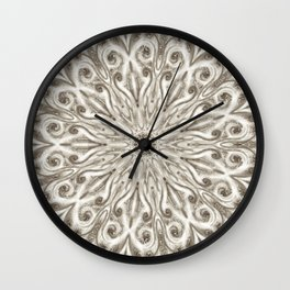 off white sepia swirl mandala Wall Clock