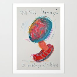 Walking through a collage of citations Art Print