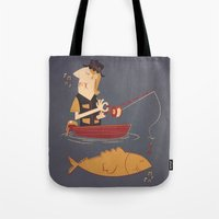 fishing Tote Bags featuring Fishing by Matt Sinor