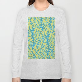 Yellow and Blue Floral Leaves Gouache Pattern Long Sleeve T-shirt