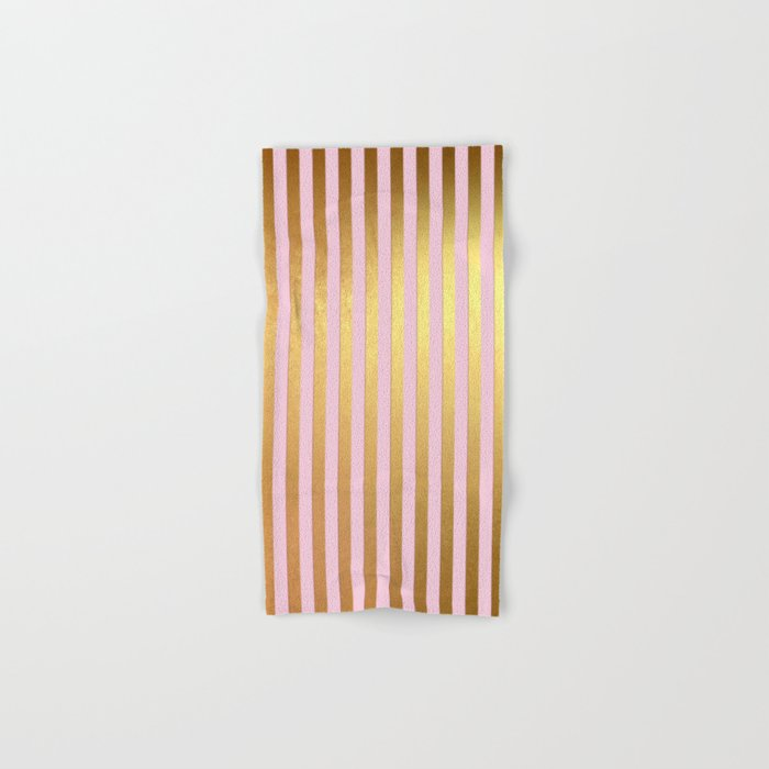 Striped- Pink and gold luxury stripes design Hand & Bath Towel