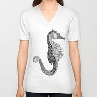 seahorse V-neck T-shirts featuring SEAHORSE by VOLPINE